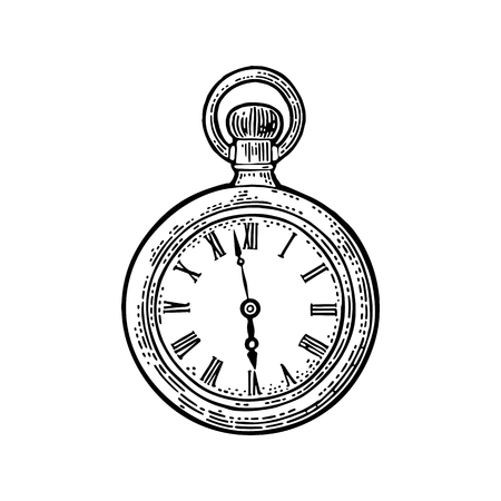 Antique pocket watch. Vintage vector black engraving illustration for info graphic, poster, web. Isolated on white background.