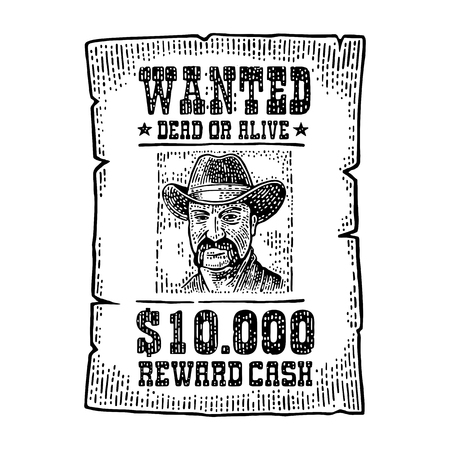 e78dfbd18a6 Wanted poster with man in hat. Wild west style. Vintage black engraving  illustration for