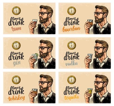 Hipster holding glasses of alcohol drinks. Illustration