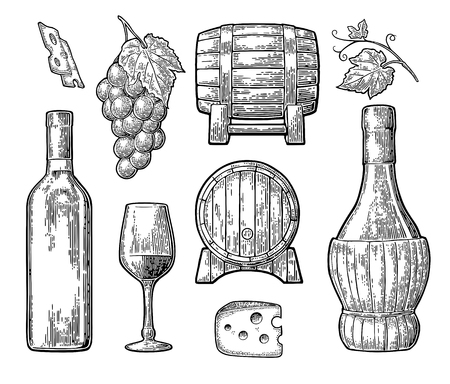 Wine set icon Illustration