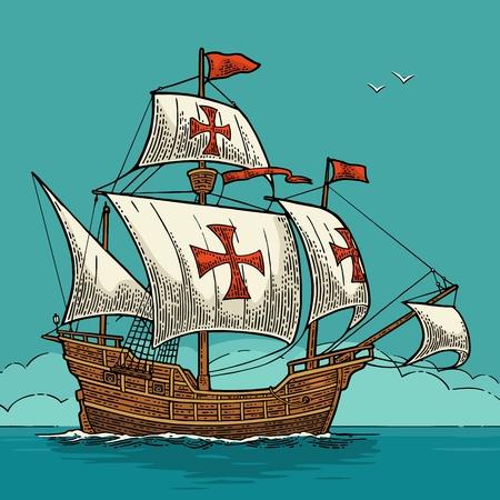 海の波に浮かぶ帆船。カラヴェル サンタ マリア。手描きのデザイン要素。ヴィンテージ色ベクトル日コロンバスのポスター用イラストを彫刻
