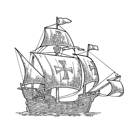 Zeilschip drijvend op de zee golven. Stock Illustratie