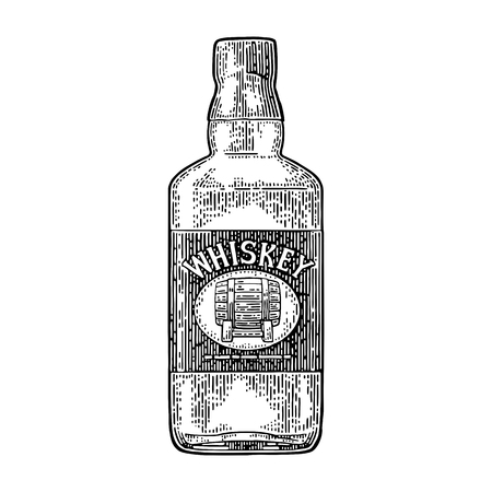 Whiskey bottle label with barrel.