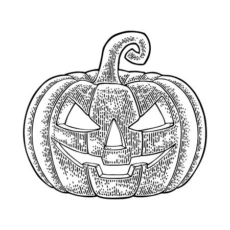 Halloween-Kürbis mit furchtsamem Gesicht.