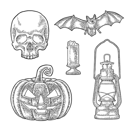 Set for invitation and poster Halloween. Pumpkin with scary face, flying bat, human skull, burning candle . Vector black vintage engraving illustration. Isolated on white background Illustration