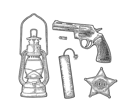 野生の西を設定します。保安官星、リボルバー、弾丸、TNT ダイナマイト爆弾、アンティーク オイル ランプ。ベクトル ビンテージ黒彫刻白い背景に
