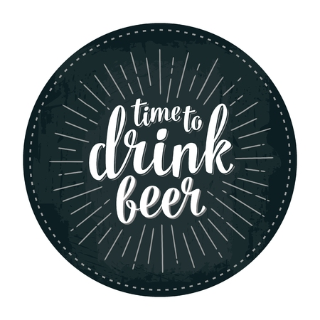 Craft Beer lettering with rays. Vector vintage engraving illustration