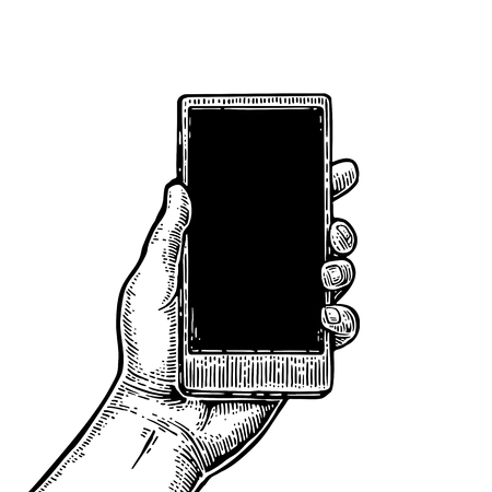 Smartphone hold male hand. Vintage drawn vector engraving illustration for info graphic, poster, web.