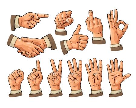 남성과 여성의 손 기호입니다. 주먹, 좋아, 포인팅, 좋아, 평화,