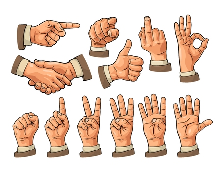 Male and female Hand sign. Fist, Like, pointing, ok, peace,
