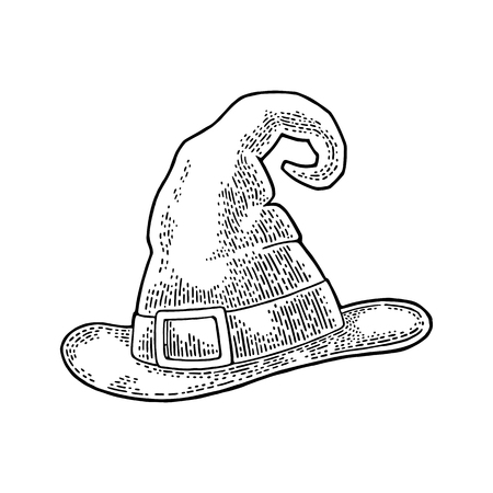Halloween witch hat with buckle. Vector engraving Illustration