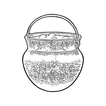 Caldero de Halloween. Magic Pot con burbujas. Grabado del vector Foto de archivo - 86912155