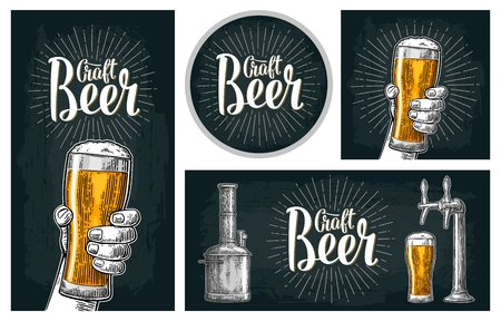 Set horizontal, vertical posters and coaster for craft beer Çizim