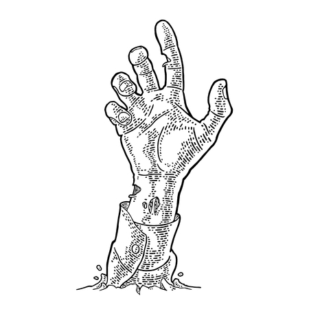 Zombie hand with claw. Vector black vintage engraving