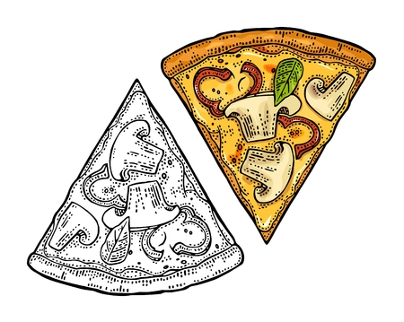 Slice pizza capricciosa. Top view. Vintage vector engraving Illustration