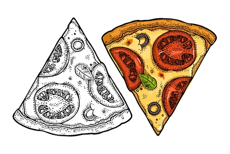Trancher la pizza margherita. Illustration de gravure de vecteur Vintage pour affiche, menu, boîte. Banque d'images - 87041528