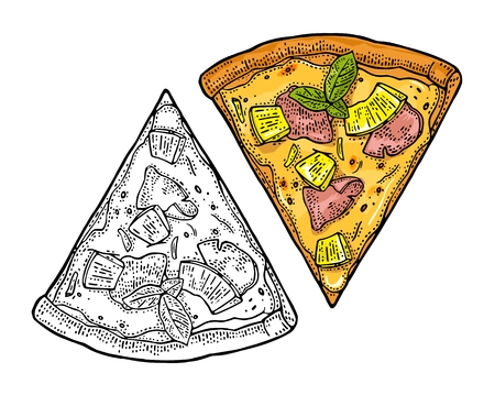 Slice pizza hawaiian. Vintage vector engraving illustration for poster, menu, box. Illustration