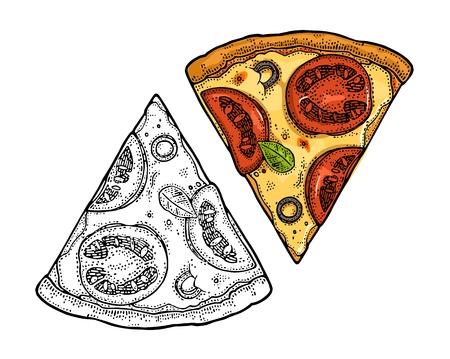 ピザのスライス メキシコ。ビンテージ ベクトル イラスト ポスター、メニューのボックスを彫刻します。