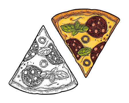 Trancher la pizza pepperoni. Illustration de gravure de vecteur Vintage pour affiche, menu, boîte. Banque d'images - 87041532