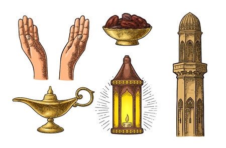 Mani in preghiera, lampada araba, date di frutta, minareto e lampada di Aladino Archivio Fotografico - 87041534