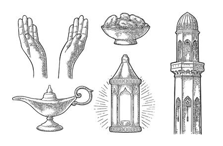 Mains en prière, lampe arabe, dattes, minaret et lampe Aladin Banque d'images - 87041535