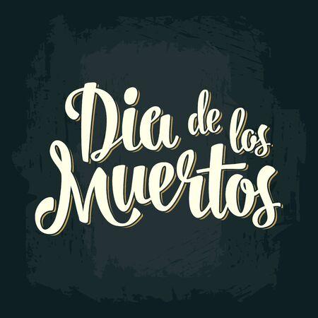 Dia de los Muertos vintage vector lettering on dark background.