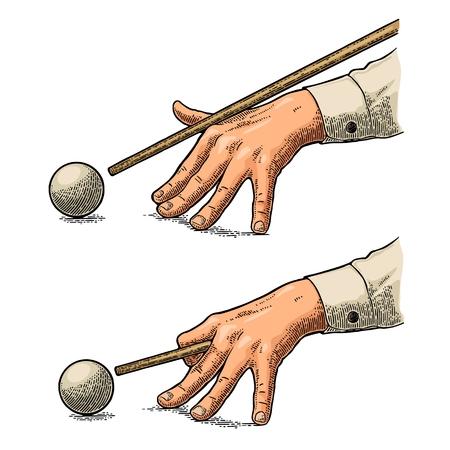Mannelijke hand in een shirt is gericht op de bal. Vintage kleur graveren illustratie voor poster, banner biljart club. Geïsoleerd op een witte achtergrond. Stockfoto - 87041540