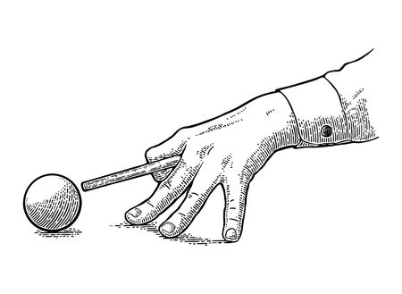 Male hand in a shirt is aimed cue at the ball. Vintage black engraving illustration for poster, banner billiard club. Isolated on white background. Stok Fotoğraf - 87041541