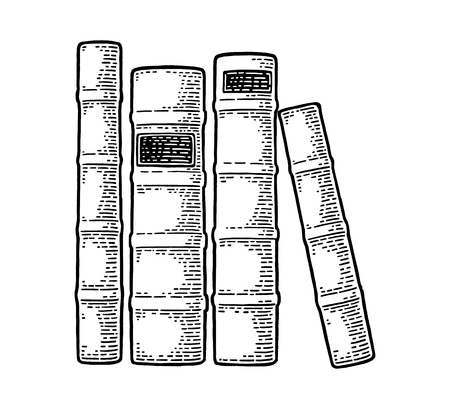 Pile of old books standing isolated on white background. Side view. Vector black vintage engraving illustration. Hand draw in a graphic style. Illustration