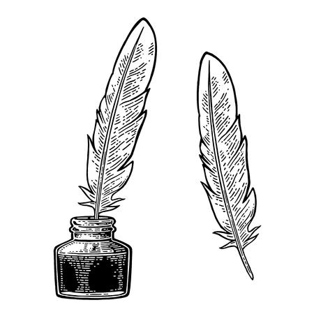 Inkwell, 깃털 흰색 배경에 고립. 벡터 검은 빈티지 조각 그림입니다. 손으로 그래픽 스타일에서 그려입니다.