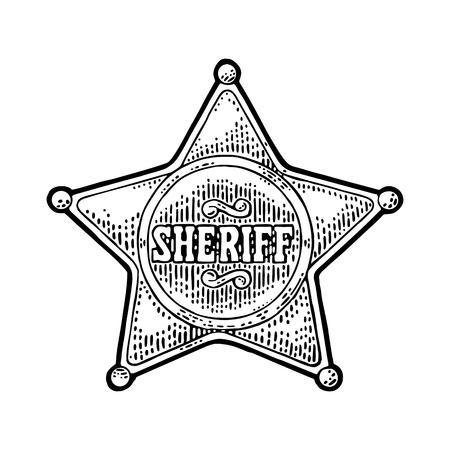 Sheriff ster. Vintage zwarte vector graveren illustratie voor western poster, web, politie badge. Geïsoleerd op een witte achtergrond.