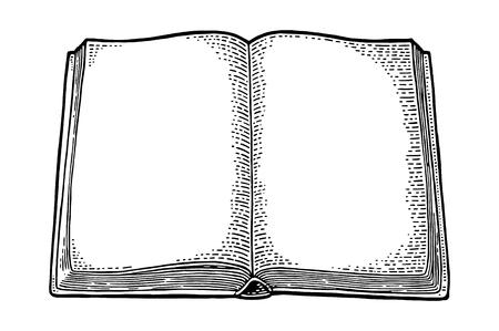 펼친 책 흰색 배경에 고립입니다. 벡터 검은 빈티지 조각 그림입니다. 그래픽 스타일로 손을 그리십시오.