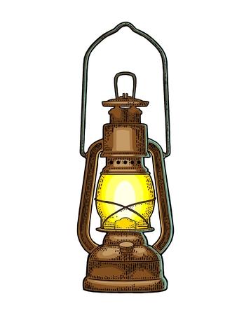 アンティークのポスター用イラストを彫刻ヴィンテージ色でレトロなガス灯、web。白い背景上に分離。