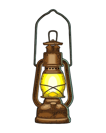 Antique retro gas lamp in Vintage color engraving illustration for poster, web. Isolated on white background.