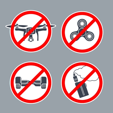 Set prohibition sign inside of round. No Hoverboard, Drone, Spinner, Vape. Vector flat simple red and black illustration on white background. For pictogram and icon. Illustration