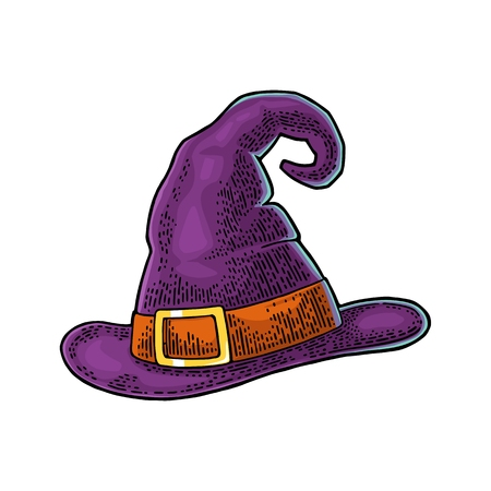 Halloween witch hat with buckle. Vector black vintage engraving illustration. Isolated on white background Ilustração