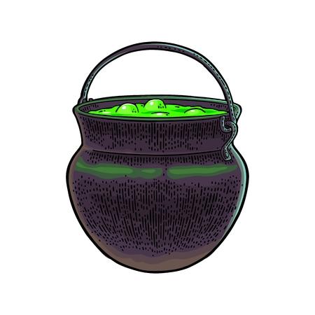 Halloween ketel. Magische pot met bubbels. Vector kleur vintage gravure illustratie. Geïsoleerd op witte achtergrond