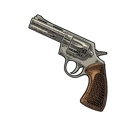 短いバレルと弾丸とリボルバー。ベクター彫刻ヴィンテージイラスト。