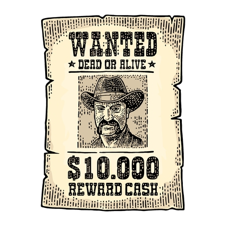 Wanted poster with man in hat. Vintage engraving