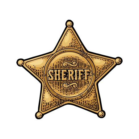 Sheriffstern. Vintage Farbe Vektor Gravur Abbildung Standard-Bild - 87269894