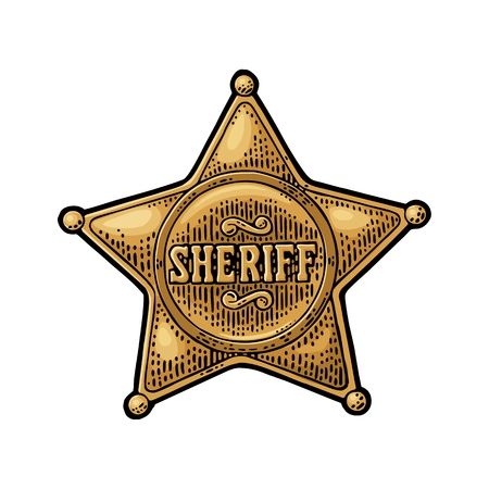 Sheriff star. Vintage color vector engraving illustration