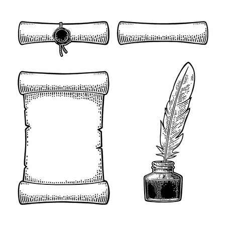 Inkwell with feather and scroll with seal. Engraving