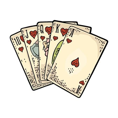 心の中でロイヤル フラッシュです。男性の手がゲームのカードを保持しています。