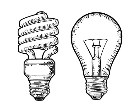 Energy saving spiral lamp and glowing light incandescent bulb. Engraving Ilustrace