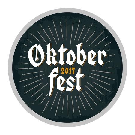 Reclameontwerp voor kustvaarder. Oktoberfest 2017 belettering met stralen. Stock Illustratie