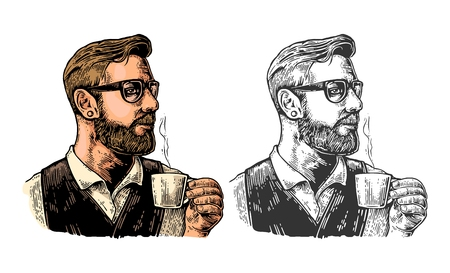 Hipster barista with beard holding a cup of hot coffee.