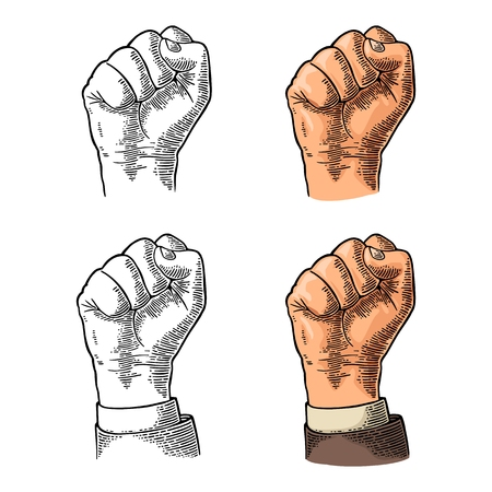 Human hand with a clenched fist. Vector black vintage engraved illustration isolated on a white background. Hand sign for web, poster, info graphic Ilustracja