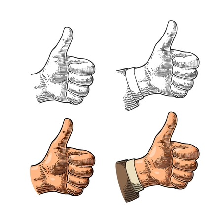 Hand showing symbol Like. Making thumb up gesture. Stock Vector - 87420908