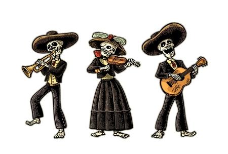Dia デ ロス ムエルトス。メキシコの民族衣装でスケルトン  イラスト・ベクター素材