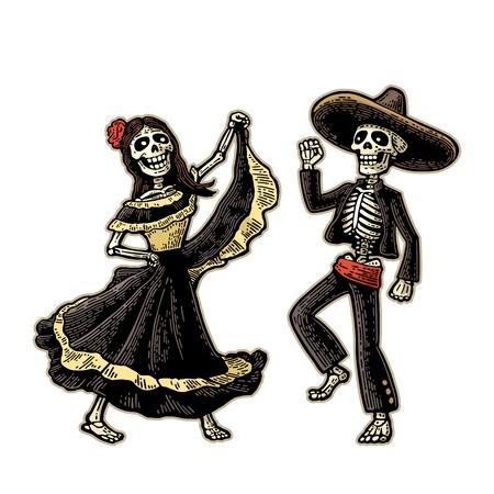 Día de los Muertos, Dia de los Muertos. El esqueleto en los trajes nacionales mexicanos baila, canta y toca la guitarra. Ilustración de vector